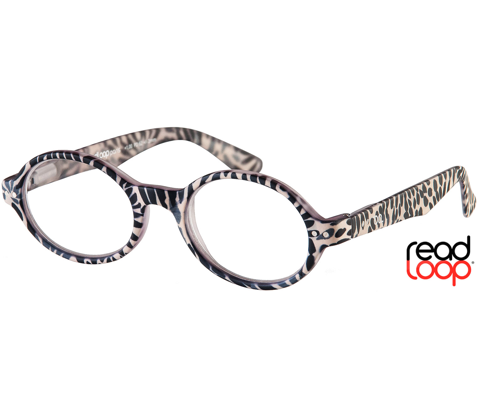 Main Image (Angle) - Wild (Zebra) Retro Reading Glasses