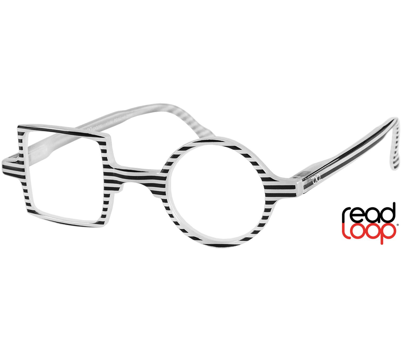 Main Image (Angle) - Patchwork (Monochrome) Retro Reading Glasses