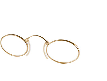 Clipper (Gold) Pince Nez Reading Glasses - Thumbnail Product Image