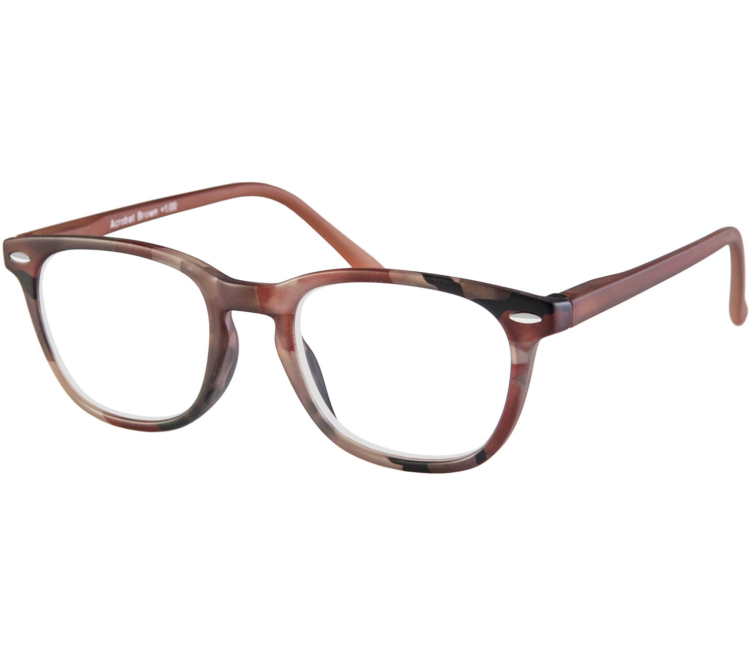 Main Image (Angle) - Acrobat (Brown) Retro Reading Glasses