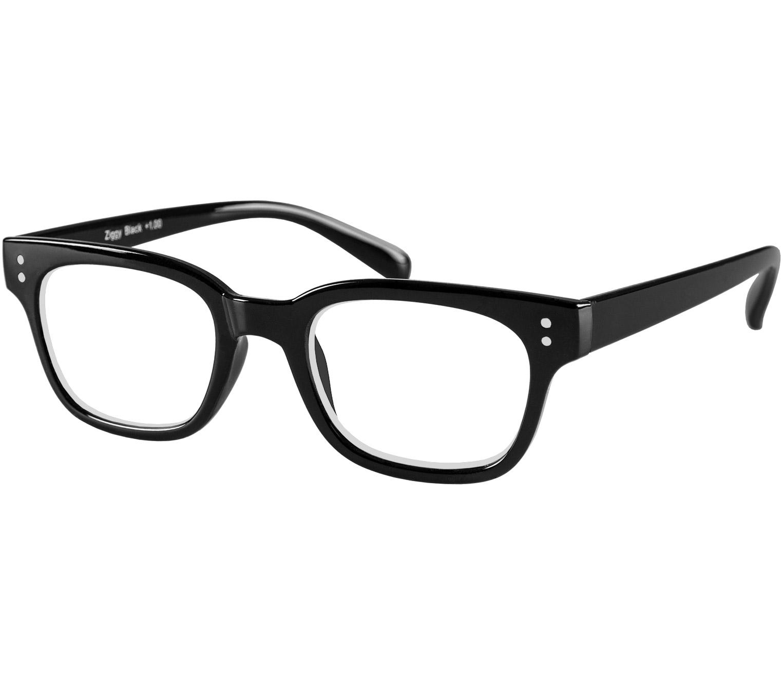 Main Image (Angle) - Ziggy (Black) Retro Reading Glasses