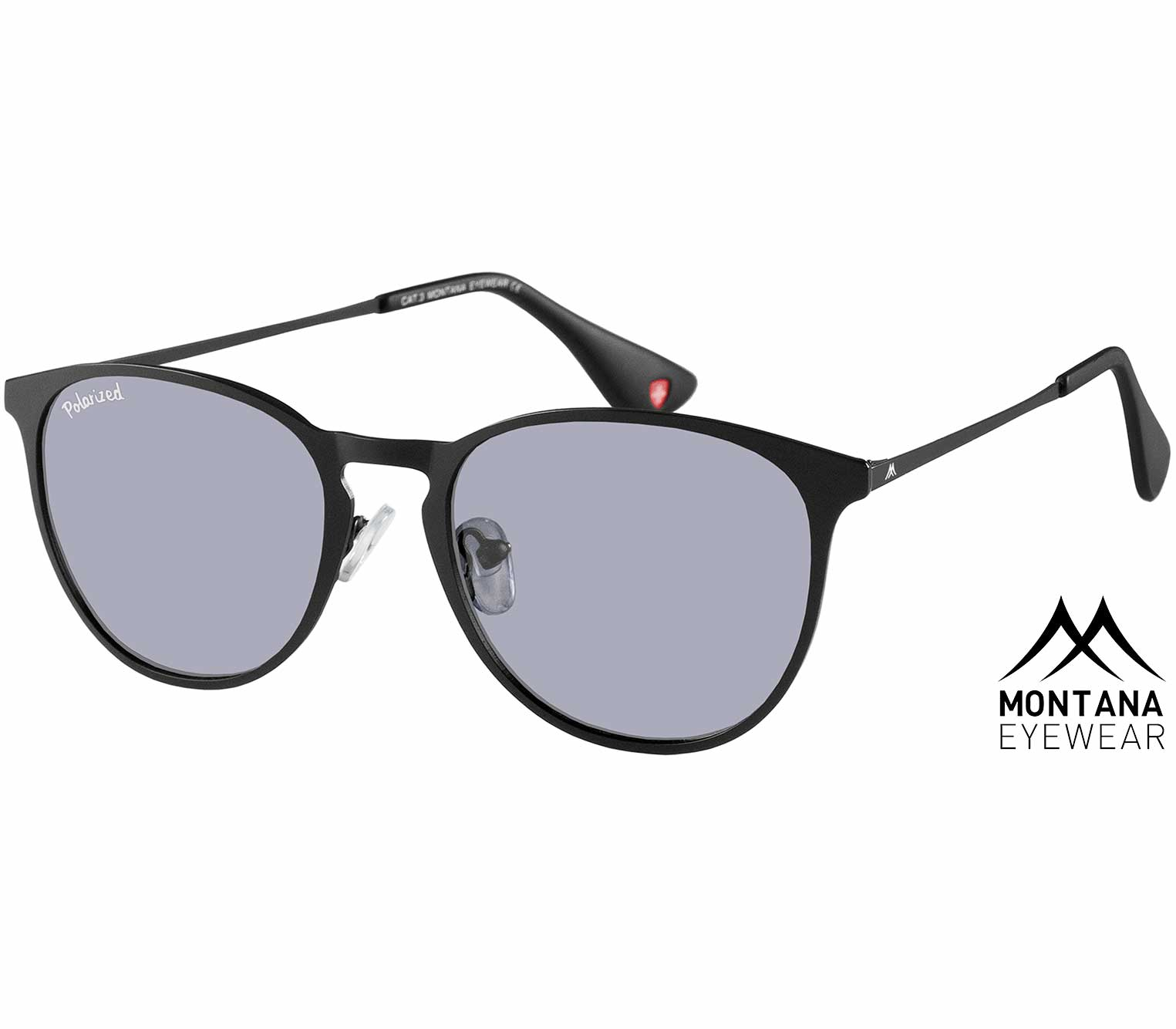 Main Image (Angle) - St Lucia (Black) Retro Sunglasses