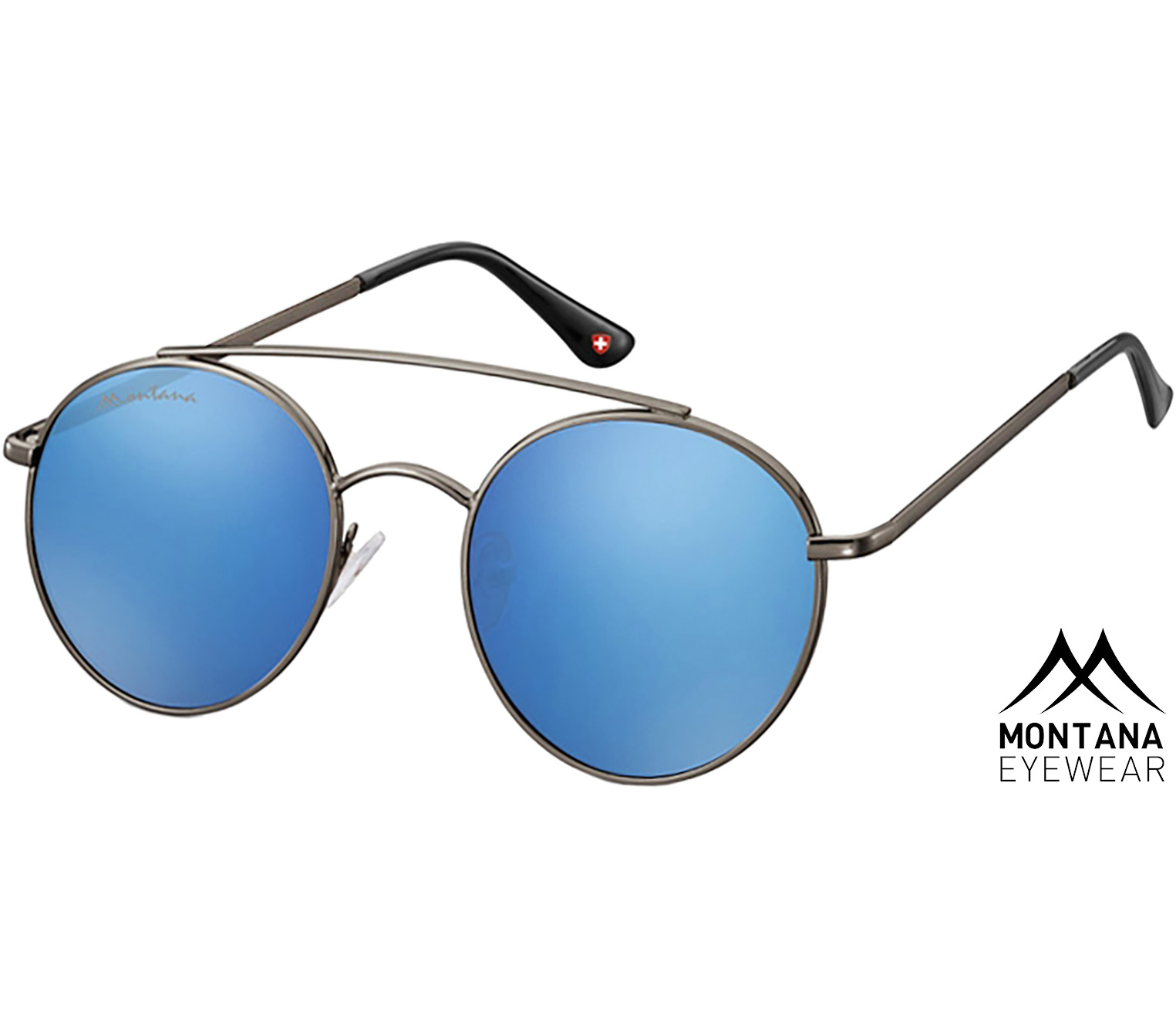 Main Image (Angle) - Brandon (Gunmetal) Retro Sunglasses