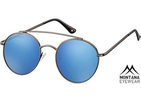 Brandon (Gunmetal) Retro Sunglasses - Thumbnail Product Image