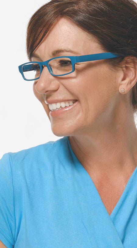 Dash (Blue) Classic Reading Glasses - Thumbnail Model Image