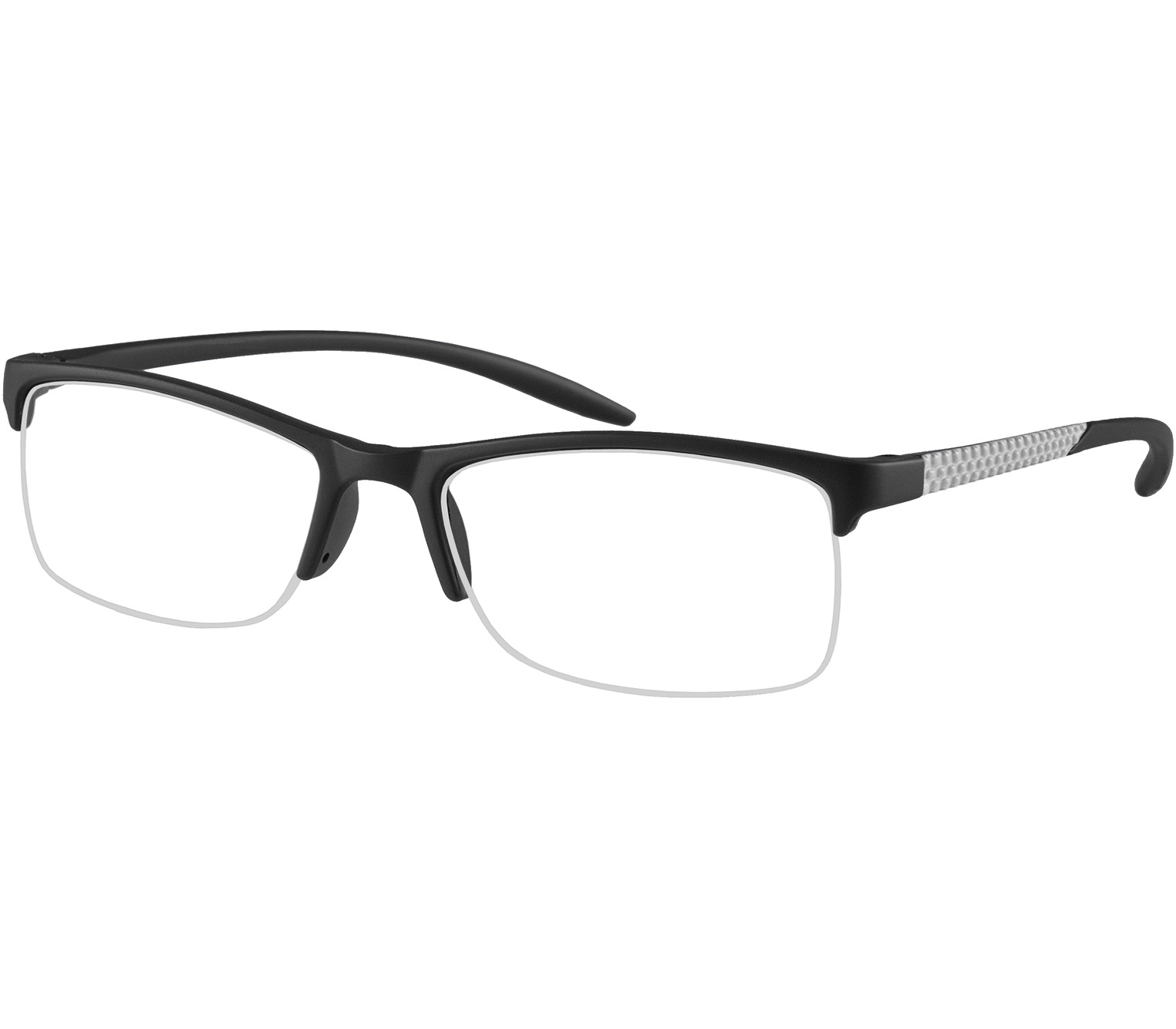 Main Image (Angle) - Solent (Black) Semi-rimless Reading Glasses