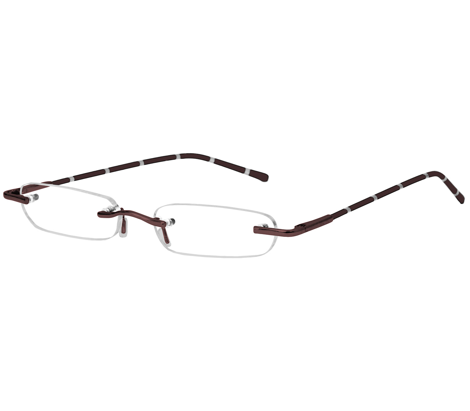 Main Image (Angle) - Pinstripe (Brown) Tube Reading Glasses