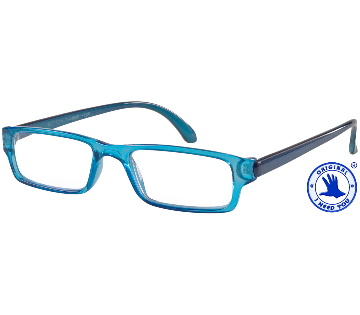 Main Image (Angle) - Action (Blue) Classic Reading Glasses