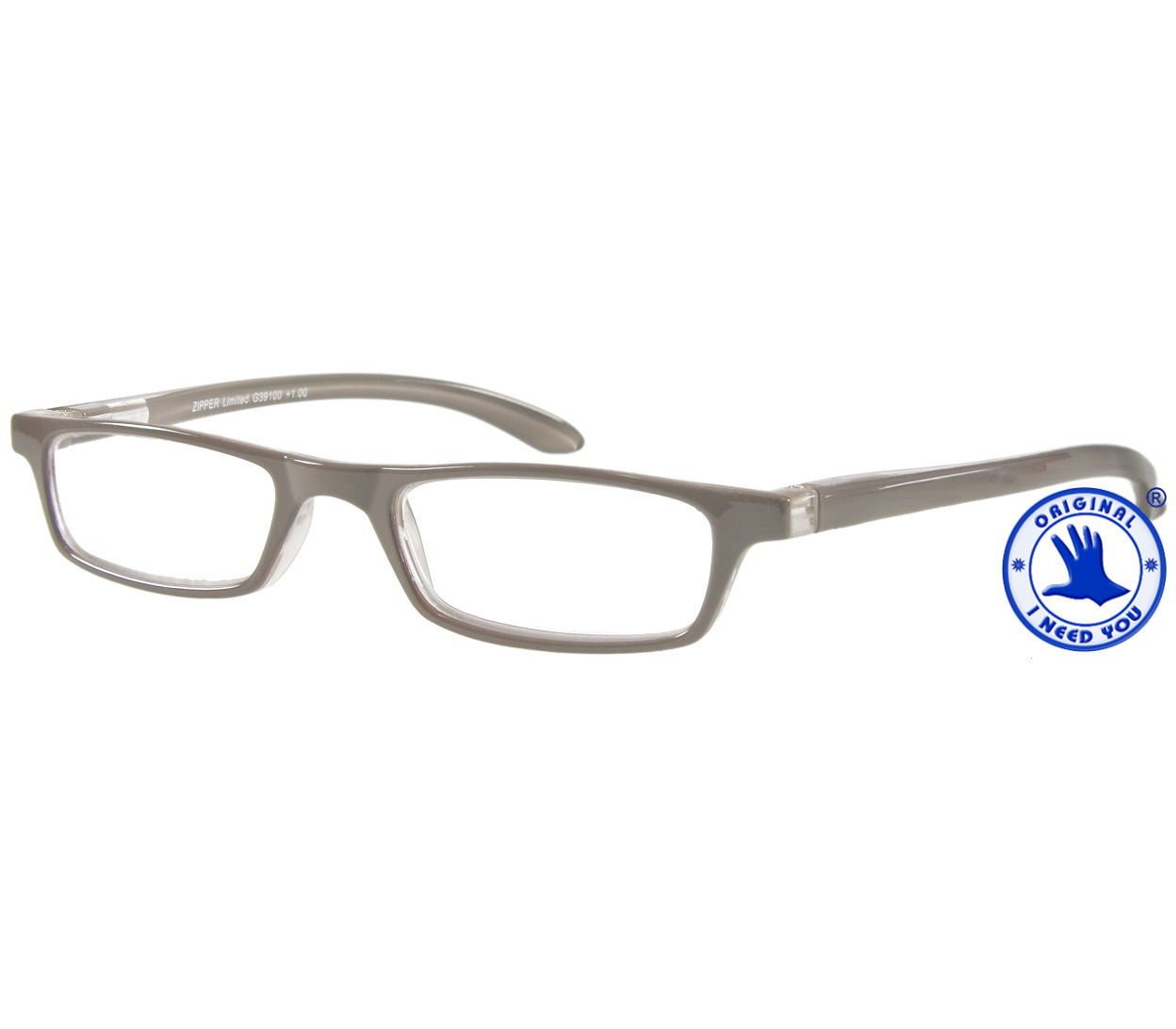 Main Image (Angle) - Zipper (Grey) Classic Reading Glasses