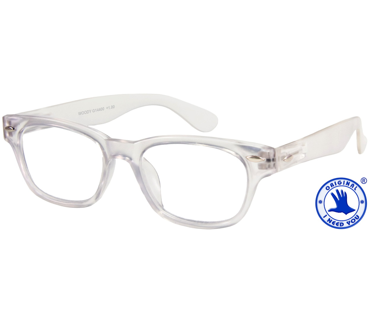 Main Image (Angle) - Woody (Clear) Retro Reading Glasses