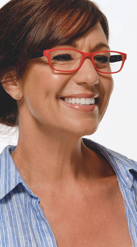 Feeling (Red) Classic Reading Glasses - Thumbnail Model Image