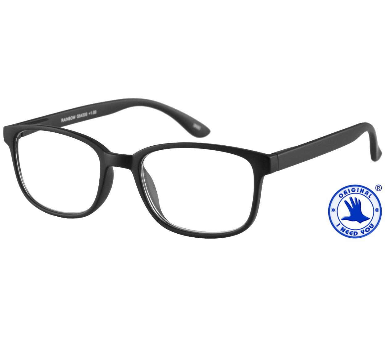 Main Image (Angle) - Rainbow (Black) Retro Reading Glasses