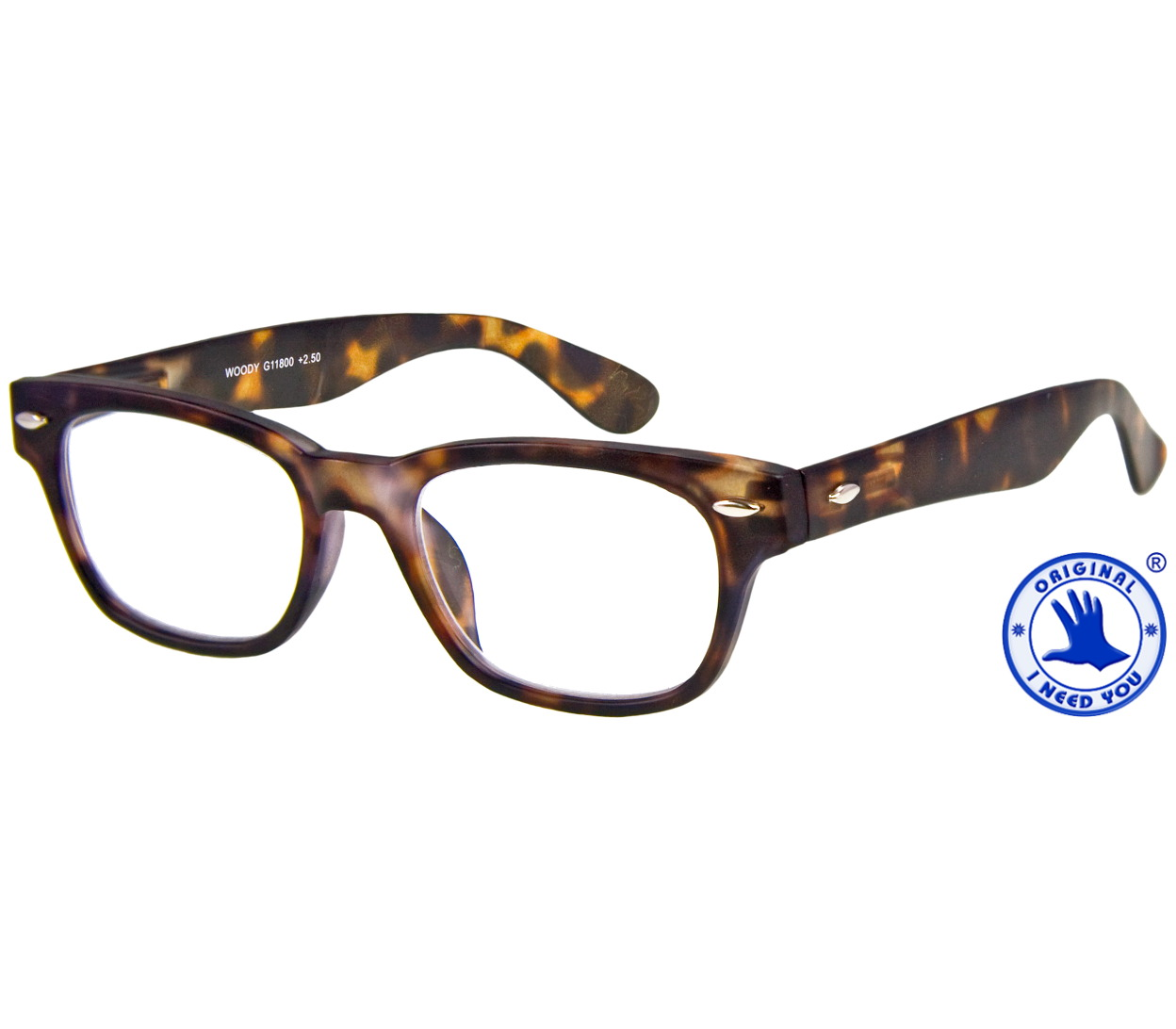 Main Image (Angle) - Woody (Tortoiseshell) Retro Reading Glasses