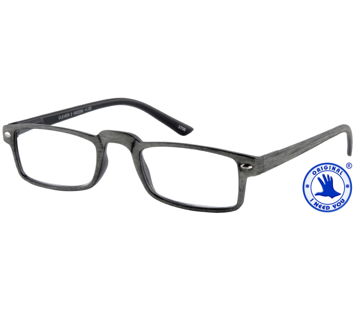 Main Image (Angle) - Clever (Grey) Classic Reading Glasses