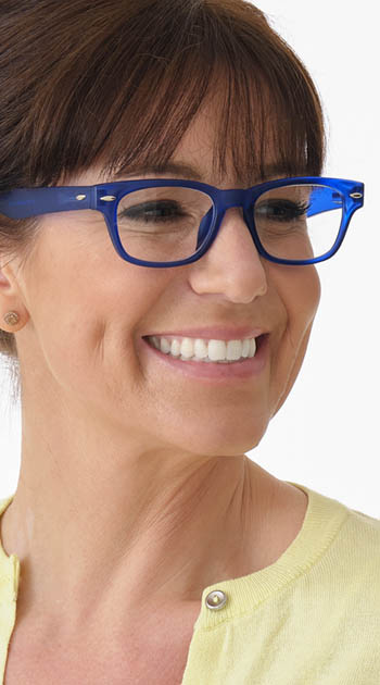 Woody (Blue) Retro Reading Glasses - Thumbnail Model Image