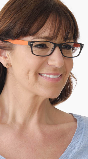 Feeling (Orange) Classic Reading Glasses - Thumbnail Model Image