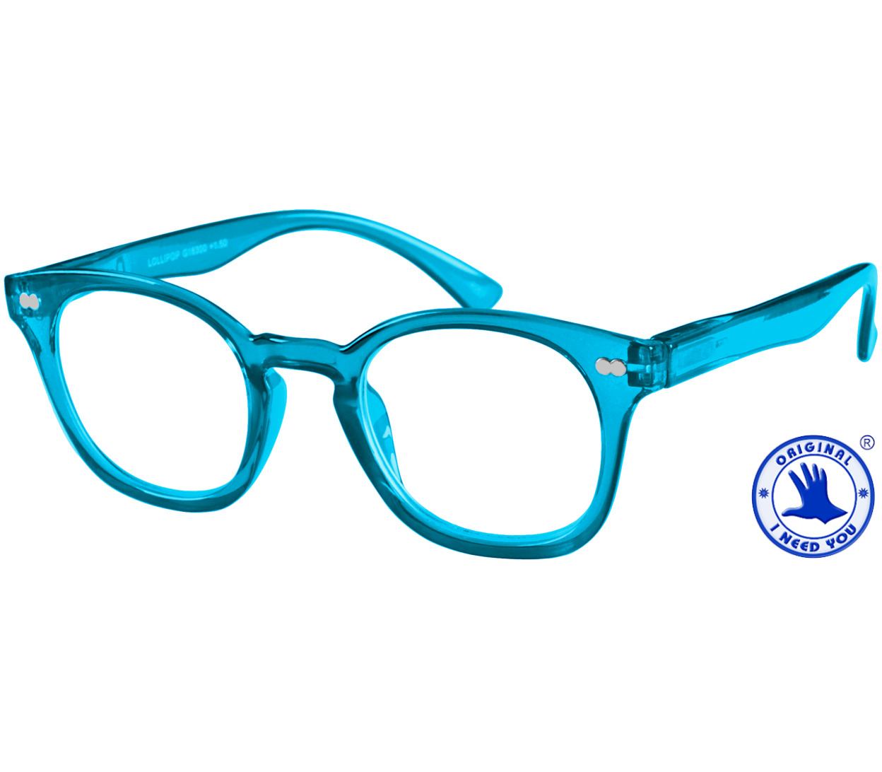 Main Image (Angle) - Lollipop (Blue) Retro Reading Glasses