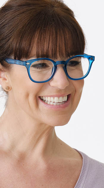 Lollipop (Blue) Retro Reading Glasses - Thumbnail Model Image