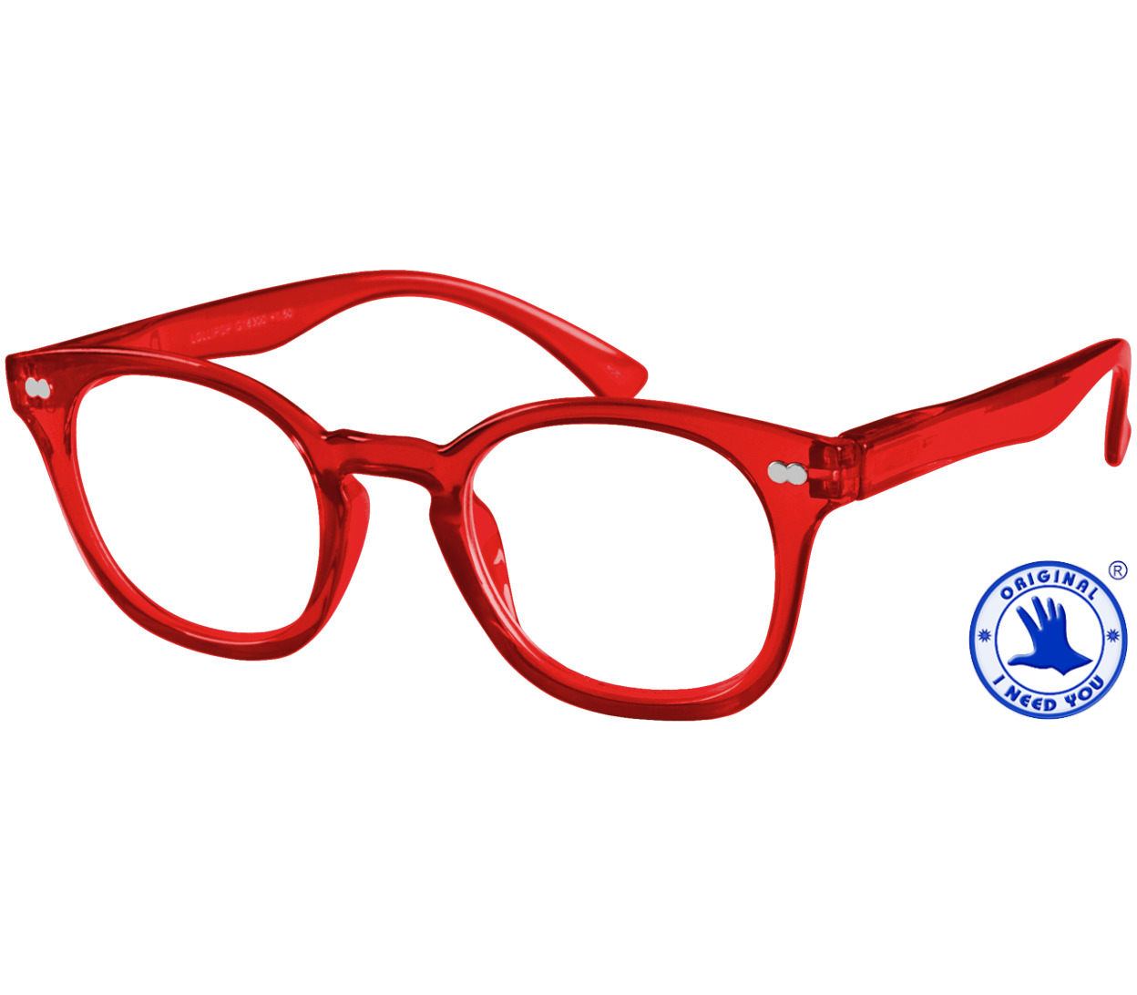 Main Image (Angle) - Lollipop (Red) Retro Reading Glasses