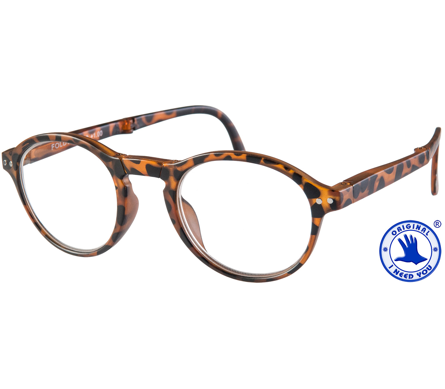 Main Image (Angle) - Foldy (Tortoiseshell) Folding Reading Glasses