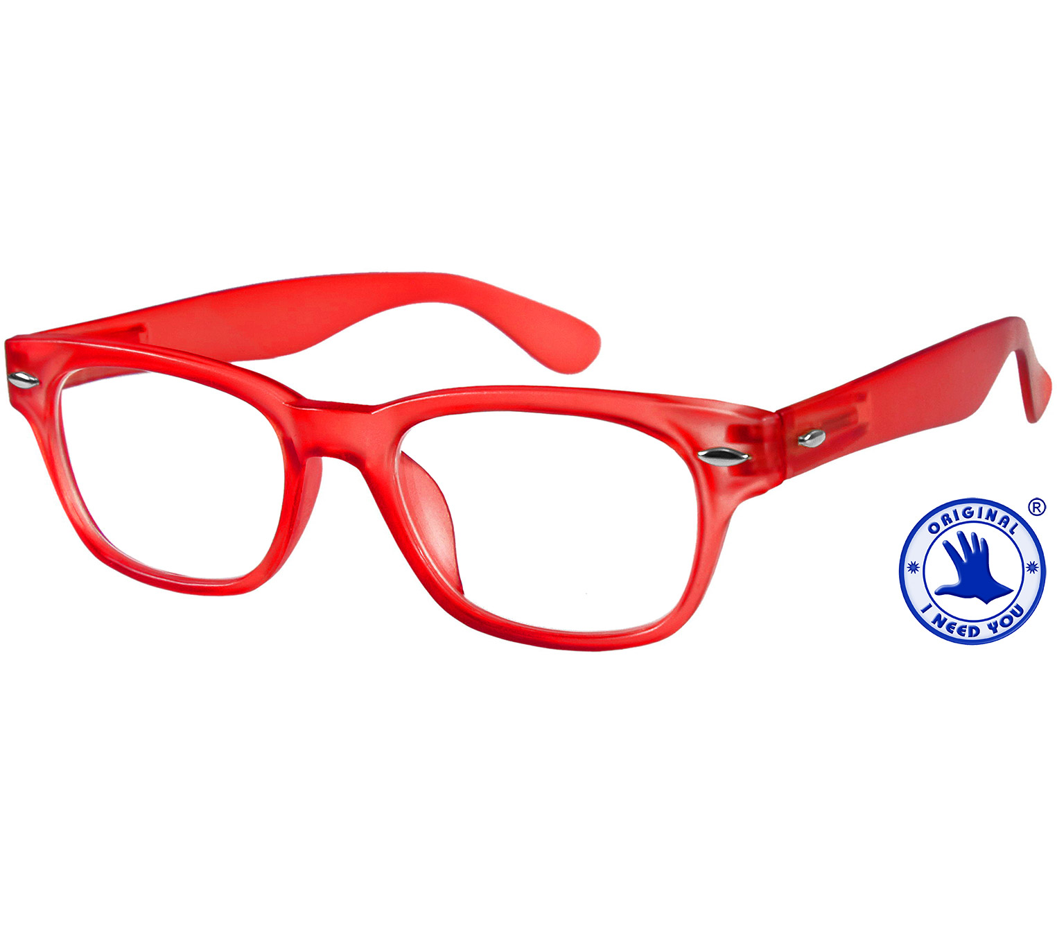 Main Image (Angle) - Woody (Red) Retro Reading Glasses
