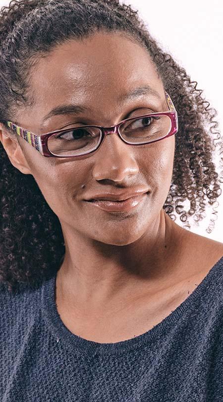 Aztec (Purple) Fashion Reading Glasses - Thumbnail Model Image