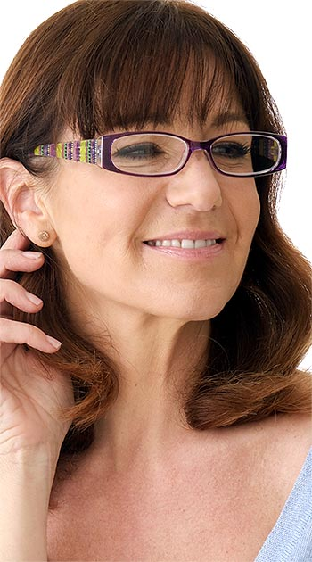 Aztec (Purple) Fashion Reading Glasses - Thumbnail Model Image