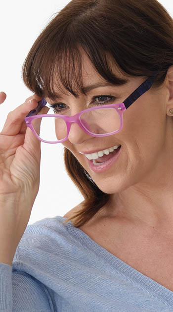 Freedom (Pink) Fashion Reading Glasses - Thumbnail Model Image
