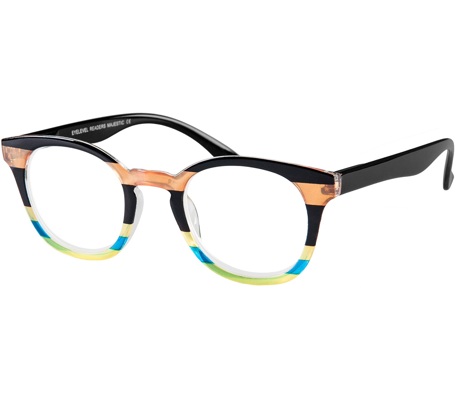 Main Image (Angle) - Majestic (Multi-coloured) Retro Reading Glasses